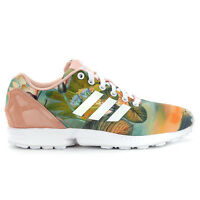 Adidas Women's ZX Flux FARM Tropical Print White Shoes B25483 NEW!