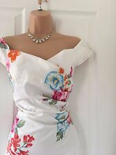 Karen Millen White Rose Bardot Style Pencil Wiggle Dress 12