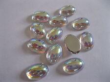 72 Preciosa oval smooth glass cabochons 14x10mm Crystal AB / Foiled #2195/CAB