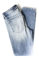 Joes Womens Distressed Mid Rise Skinny Slim Jeans Pants Blue Cotton Size 24