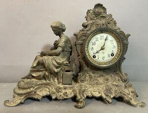 19thC Antique VICTORIAN Era ANSONIA Figural LADY & BOOK STATUE Old MANTEL CLOCK
