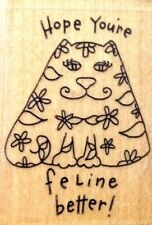 Get Well Cute Cat Hope You're Feline Better  Flowers Sentiment Rubber Stamp Rare