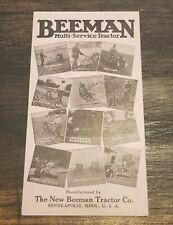ANTIQUE 1932 BEEMAN MULTI-SERVICE TRACTOR ADVERTISING CARD BROCHURE MINNEAPOLIS