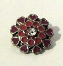 3D Pink Hearts & Rhinestone Charm Button Fit For Noosa Bracelets JoMacDesigns