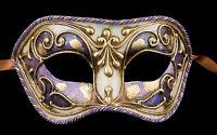 Maschera Di Venezia Columbine Viola Dorata IN Carta Cartapesta 1837 V83B