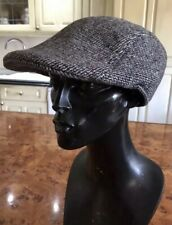 VINTAGE FLAT CAP GREY TWEED HAT SIZE 7 1/8 MOON ENGLAND CLASSIC COTTON BLEND