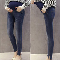 Women Pregnant Maternity Stretch Solid Trousers Belly Leggings Jeans Denim Pants