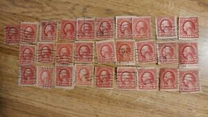 Lot of 28 George Washington Red 2 Cent Stamps Vintage 1920's