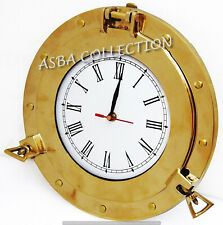 Shiny Brass Porthole Clock Wall Decor Ship Nautical Hanging Maritime Gifted