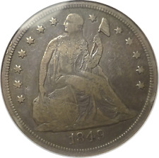 1849 Liberty Seated Dollar - Fine Details - ANACS - Tough Date