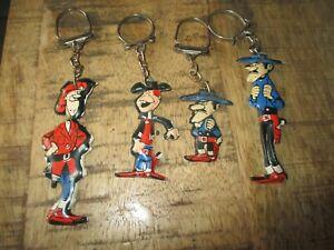 Lucky Luke-Lot portes clé publicitaire-Lessive OMO-4 personnages-Années 60-