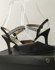 JIKI MONTE CARLO CREATIONS BLACK SATIN & CRYSTAL STRAP SLINGBACK SHOES SIZE 5
