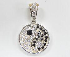 Estate Yin Yang Sterling Silver Pendant / Medallion w/ Black & White CZs, 25.4g