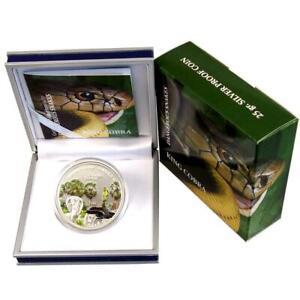 Cook Islands 5 Dollar 2011 PP Dangerous Snakes Königskobra Silber Zertifikat