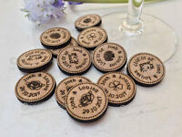 Personalised Rustic Wooden Lucky Penny Style Tokens Wedding Favours, Confetti