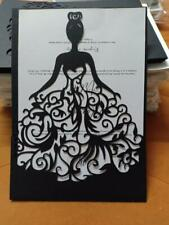 Black Laser Cut Quinceanera Wedding Party Invitation Card with Envelope 10PCS