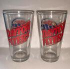 2 University of Dayton Flyers Football Basketball MILLER LITE Beer Pint Glasses