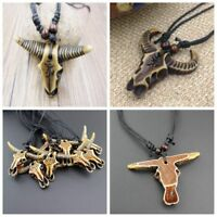 Tribal Imitation Yak Bone Brown Carved Cow/Bull Head Charms Pendants Necklace--
