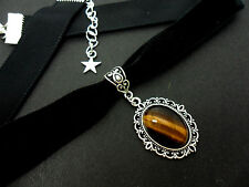 A LADIES GIRLS BLACK  VELVET TIGERS EYE STONE CHOKER NECKLACE. NEW.