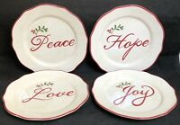 """RARE Better Homes & Gardens WINTER FOREST Set of 4 Salad Plates 8 3/4"""" EXCELLENT"""