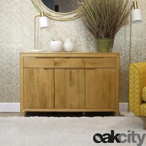 Stockholm Oak Sideboard   Large 3 Door 3 Drawer Cabinet   Light Wood Retro