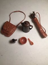 """Doll Accessories Brown Coffee Pot Brown Arrows Pouch Dish Spoon Mug12"""" Doll Size"""