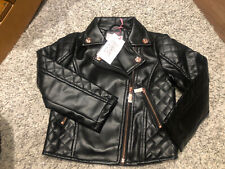 Girls Ted Baker Black Faux Leather Quilted  Biker Jacket Age 4 Years New