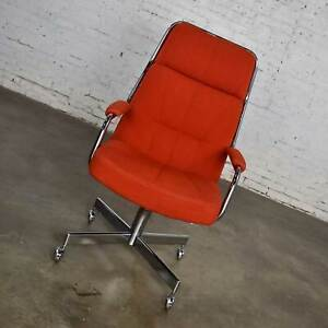 Chromcraft Adjustable Armed High Back Rolling Office Chair Orange Hopsack Fabric