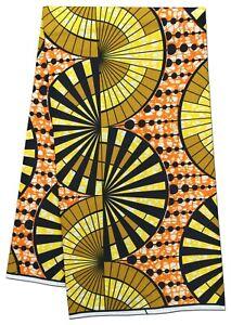 African Fabric Orange Yellow Black Wax Print New Design Sewing Crafts Per Yard