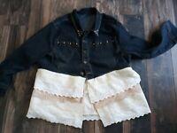 Women's 2xl upcycled bohemian denim and lace jacket, handmade upcycled clothing