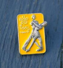 Olympic Pinback Ice Skating Lapel Pin Yellow Calgary '88 1988 Couples Winter