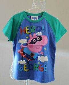 NEW Hero George T-shirt Size 4 - Blue & Green - Peppa Pig BNWT Tshirt / Tee