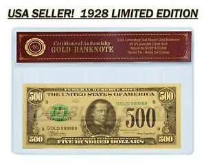 24K .999 GOLD 1928 $500 GOLD CERTIFICATE BANKNOTE W/ COA (CERT OF AUTHENTICITY)