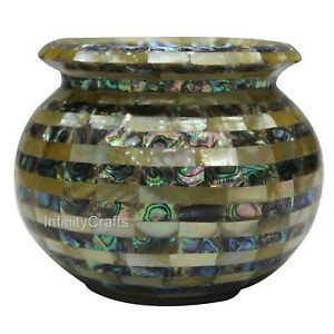 5 Inch Marble Vase with Random Work Elegant Look Planter for House Warming Gift