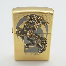 Zippo UNICORN Emblem Gold Ice Replic Lighter High polished brass Antique USA