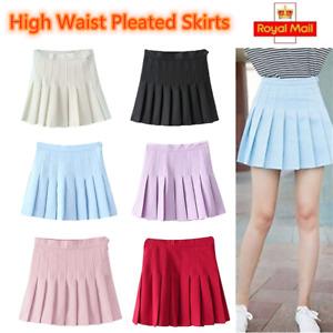 NEW Women's Girls Slim Thin High Waist Pleated Tennis Skirts Mini Dress Playful