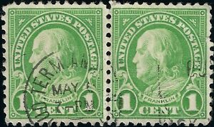 2 1927 Pair Lime Green 1C Ben Franklin US Stamps 632 Hand Stamped May 7-PM VF