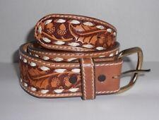 Beall's Saddle Leather Belt Hand Laced Size 28 Unisex Acorn and Leaf
