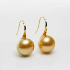 Big 12.2MM Natural Rich Golden South Sea Pearl Earrings 14k Yellow Gold Hook