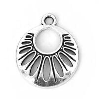30Stücke Silber Charms Anhänger Für Halskette Kette Rund Form 23x12mm Mode