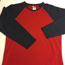 TOMMY JEANS HILFIGER DENIM Color Block Men's Long Sleeve Shirt Red Blue Large