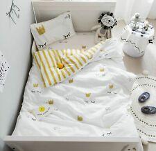 3Pc Baby Bedding Set Soft Cotton Crib Bed Linen Set Pillowcase Sheet Duvet Cover
