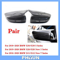 2x Car Rear View Side Mirror Cover Trim Carbon Fiber Style For BMW 3 5 7 Series
