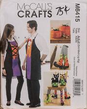 McCalls Crafts Sewing Pattern 6415 Halloween Aprons Boots Pumpkin Cat Owl UNCUT