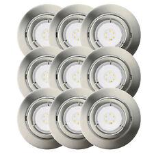 9er Set LED Einbaustrahler 6,2W GU10 Einbauleuchte schwenkbar dimmbar Eisen geb.