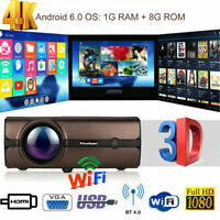 4K 3D WiFi Wireless LED Projector Android 6.0 BT 1080P HD Smart Home Theater 8GB