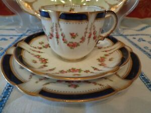 Sparkling Antique Coffee Trio By George Jones & Sons Blue Rims, Pink Rose Swags