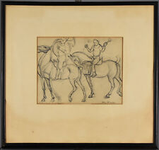 Framed Vintage Drawing entitled Circus Boys on Horseback - signed Enrico G ?