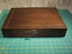 Vintage Flatware Storage Chest Box Case Brown Good Shape