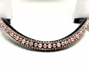 Pink Pearl and White Crystal Browband  Competition Browband